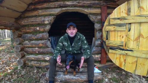 丛林搭建实木小屋,虽然用了不少现代工具,我依然对它非常喜欢