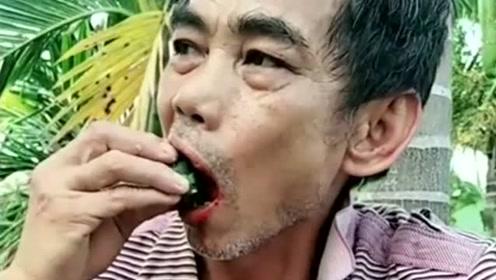 大叔干农活,累了就吃一会槟榔,感觉吃到了山珍海味