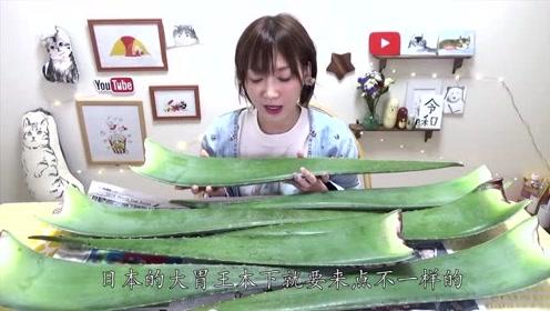 日本吃播:大胃王木下挑战18厘米芦荟,大口咀嚼真过瘾!