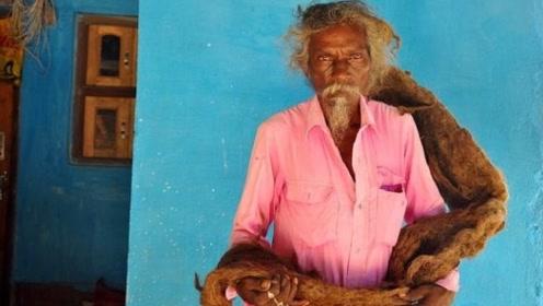男子40年没洗头,脏辫长达1.82米, 自称:这是上天的礼物