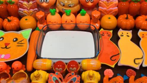 水果蔬菜彩泥+小猫彩泥,橘红色史莱姆教程,超治愈的颜色搭配!