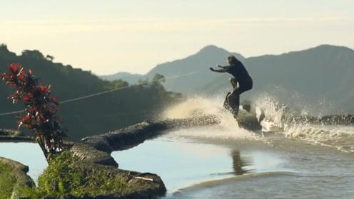 海里冲浪见得多了,但是在梯田里冲浪你见过吗?牛人亲自挑战,能成功吗?