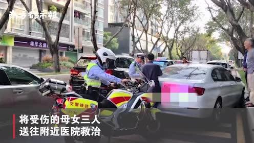 深圳女司机倒车时突加速,撞倒母女三人再撞宝马,事发幼儿园门口