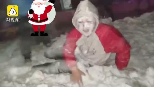 堆雪人out了!东北小伙雪地大埋活人