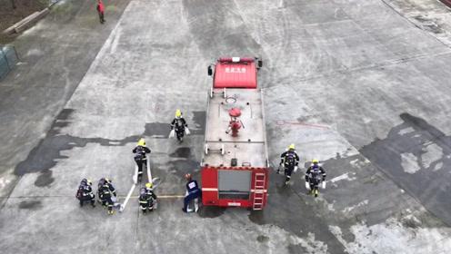 消防大比武!消防员连接15条水带扑救220米水路,仅用76秒