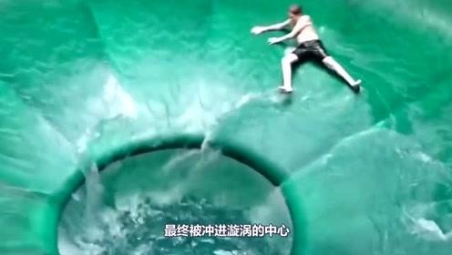 世界上设计最简单的水滑梯,敢试第二次的没几个,网友:我怂了