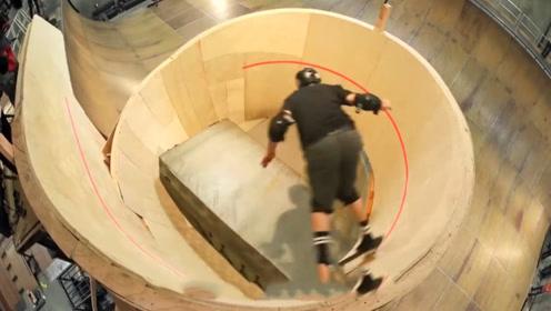 牛人小哥挑战地心引力,360度旋转的阶梯