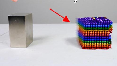 当1000个巴克球遇上两个钕磁铁,会发生什么?场面相当魔性