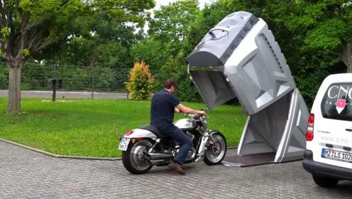 专为摩托车设计的可移动车库,造型奇特,可以随时换位置