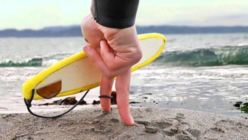 不会冲浪怎么办?看小哥自创的手指冲浪,这脑洞真够大的!