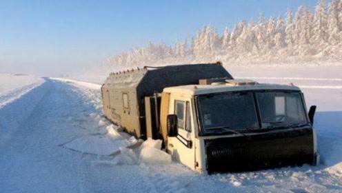 俄罗斯货车司机勇闯冰河,零下40度低温,佩服司机的胆大心细