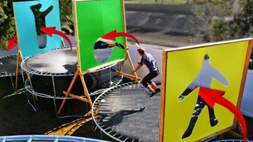 小伙挑战人墙游戏,摆出正确姿势才能通过,你猜他能成功吗?