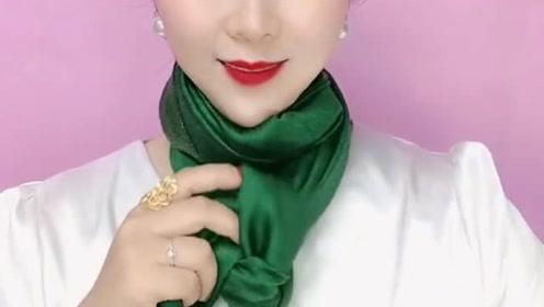 绿色围巾这样系,超有气质,全网独一无二的系法