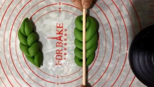 一个面团,一根筷子,简单一压变成树叶,抓住这个诀窍你就成功了
