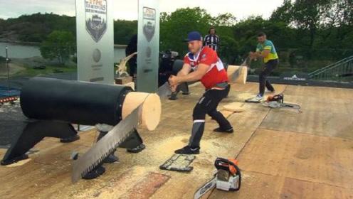 """外国举办""""伐木比赛"""",一根木头只用17秒,网友:光头强没这厉害"""