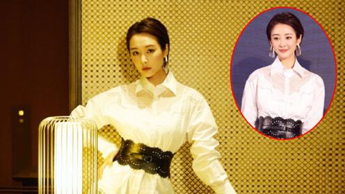 李纯身穿白色衬衫裙叠加黑色小皮裙,独特的甜飒气质
