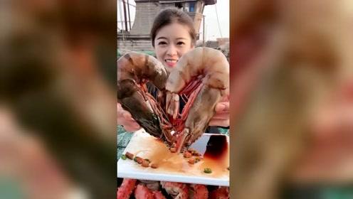 农村吃货姐生呛大虾,太馋人了