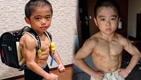 """还记得日本肌肉小萌娃吗?肌肉越来越""""变态"""",宁愿不长也要练?"""