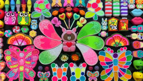 创意史莱姆教程,彩虹米粒泥+蝴蝶彩泥+小花黏土,无硼砂无胶水