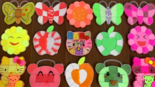 DIY史莱姆教程,蝴蝶泥混合花朵泥、苹果泥、凯蒂猫泥、小饰品