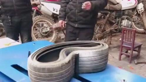 试用一下老板新买来的,轮胎套装机和轮胎切割机,这设备的工作状态还不错!