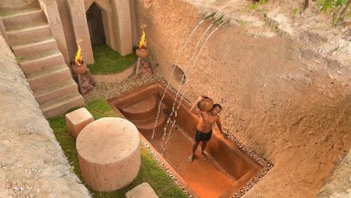 牛人徒手打造一座地宫泳池,奢华的两室一厅,简直不要太巴适!