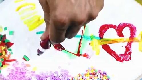 DIY史莱姆教程,爱心彩泥+指甲油+闪粉+口红+水果泥