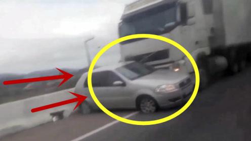 """被大货车""""横推""""行进,轿车司机当场崩溃,手机录下惊恐一幕"""