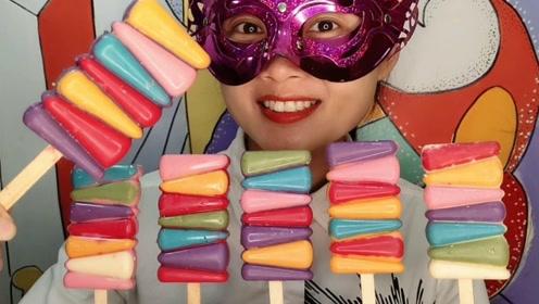 """小姐姐吃创意""""阶梯雪糕冰棍巧克力"""",七彩层层高柔滑甜蜜"""