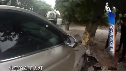 男子驾车途中,父亲不顾一切在旁边吵闹,结果导致车毁人伤