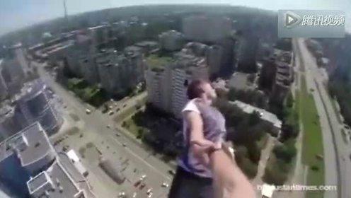 吓尿了 高能跑酷高楼顶上翻跟头