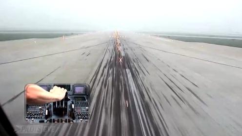 从驾驶舱角度看飞机着陆,好神奇