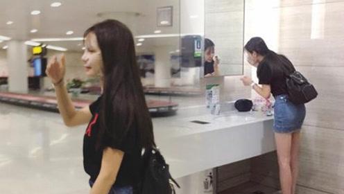 沈梦辰在机场卸妆敷面膜 网友大赞接地气!
