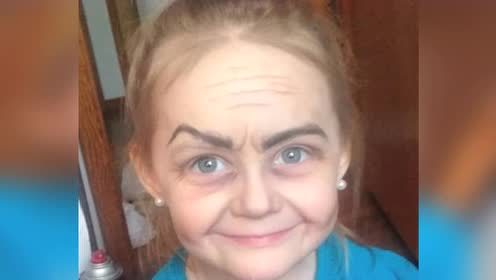 3岁小女孩靠神奇化妆  秒变80多岁老奶奶