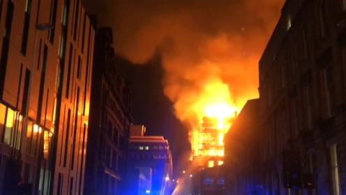英国著名百年建筑格拉斯哥艺术学院 时隔4年再度发生火灾