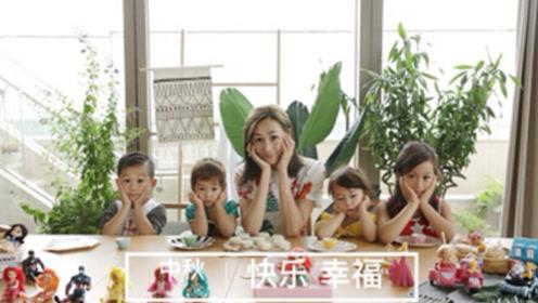 蒋丽莎中秋节晒四个孩子互喂月饼 画面温馨有爱