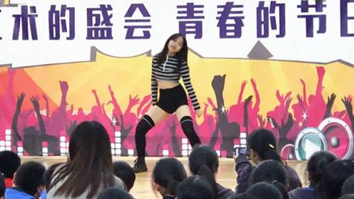 13岁女孩艺术节上一跳成名  音乐一响高潮不断  男同学都看呆了