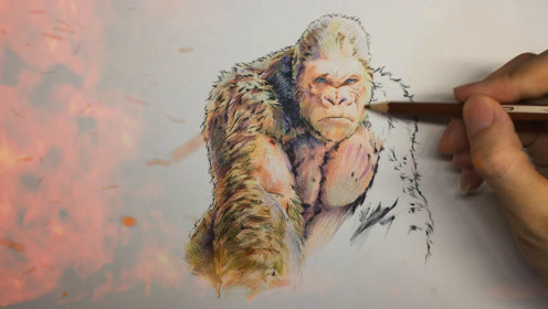 手绘《狂暴巨兽》:来感受下这只大猩猩的摧毁力!秒杀绿巨人?