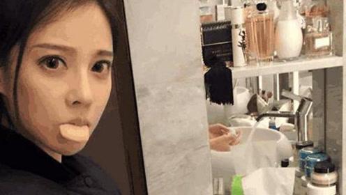 冯提莫晒自己的豪宅 卫生间满墙都是化妆品