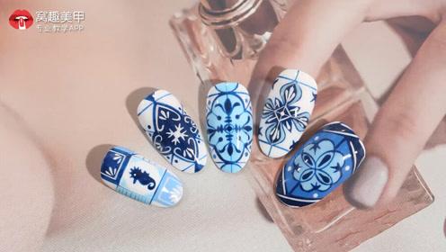 蓝色青花 气质中国瓷美甲教程