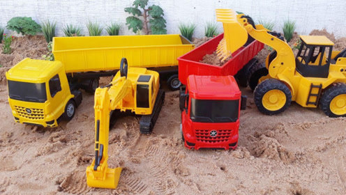 趣味工程车玩具泥沙表演,分享快乐小故事