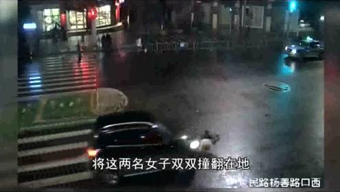 两名美女无视红灯被撞飞,这个教训来的真快!