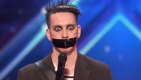 选手登达人秀嘴上却被缠着胶带,没想到竟是搞笑艺人,掌声雷动!