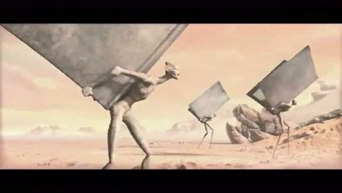 石人破土而出,背书负重前行,原来是为他服务,超讽刺的现实短片
