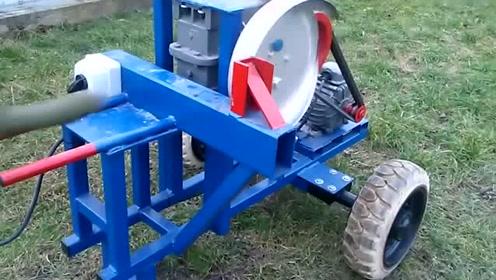 农村牛人发明切木头神器,实在太好用了