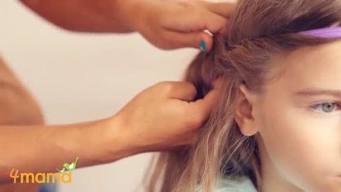 上学前妈妈给闺女弄了这样一个发型,简单又显活力