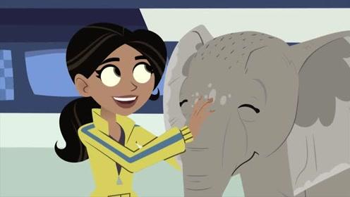 新动物兄弟:马丁克里斯把小象带回海龟船,阿维娃看到很开心