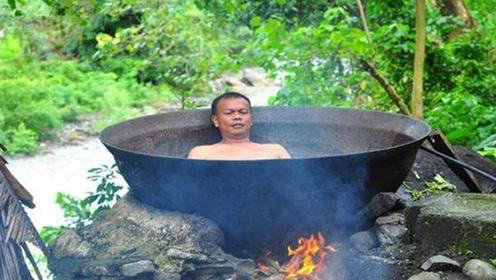 独特泡澡方式之铁锅炖自己,入锅还得排队