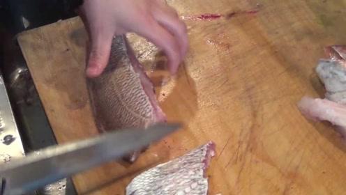 正确处理新鲜大鱼的步骤,鱼头一定要扔掉,鱼骨砍碎放置