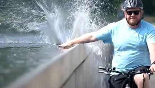看起来很酷,水上自行车道吸引了大量游客